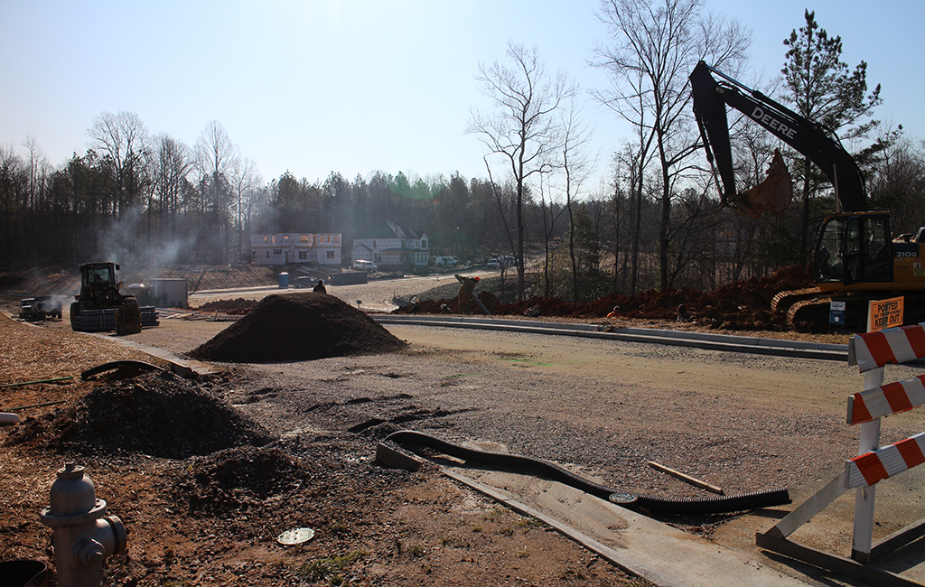 Construction in Harpers Mill, an active development despite the proffers. (Jonathan Spiers)