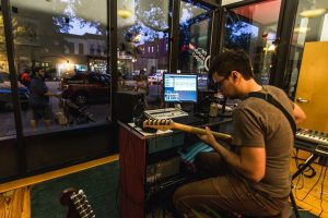 Troy Gatrell of local band Clair Morgan at work in The SoundView Project space. (Courtesy SoundView Project)