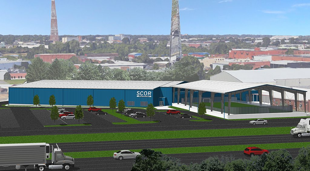 A rendering of the upcoming 50,000-square-foot steel building that will house two-and-a-half turf fields.