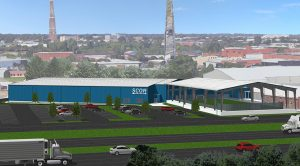 A rendering of the upcoming 50,000-square-foot steel building at SCOR.