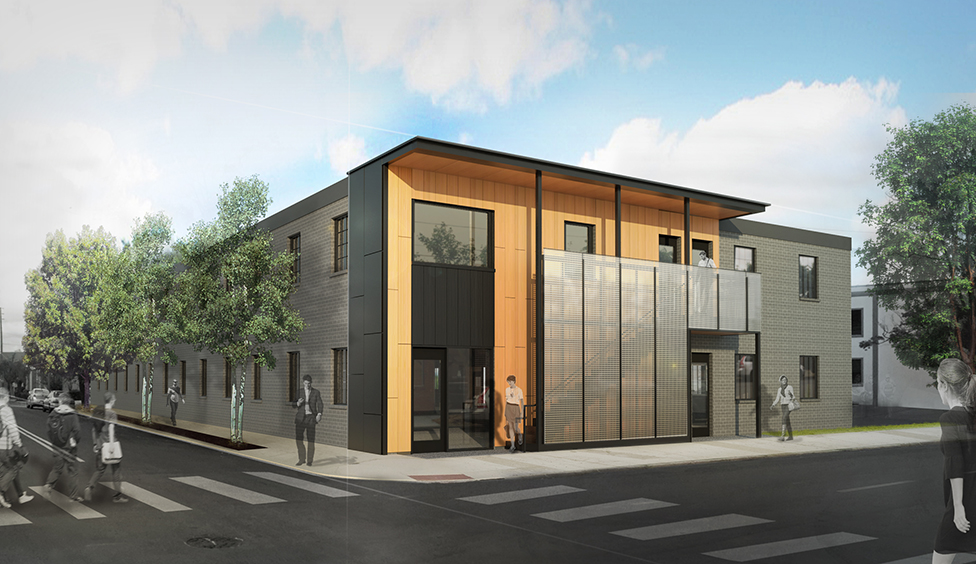 A rendering of the planned 16,000-square-foot building at the corner of W. Marshall St. and High Point Avenue.