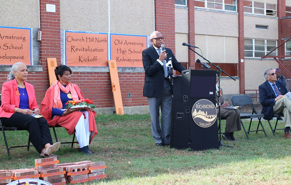Mayor Dwight C. Jones speaks at the groundbreaking ceremony for Church Hill North, which will replace the school with a 256-unit housing subdivision. (Jonathan Spiers)