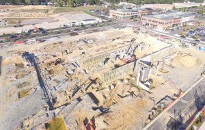 Construction on the foundation of part of the upcoming Libbie Mill development. (Kieran McQuilkin)