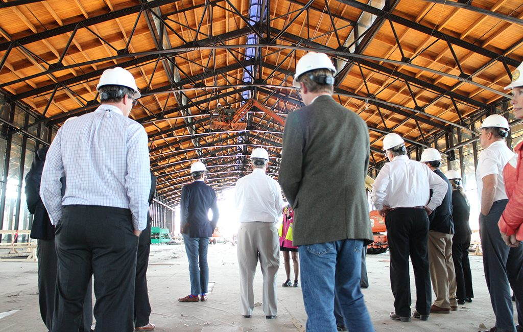 Brokers toured the under-construction Main Street Station train shed. (Michael Schwartz)