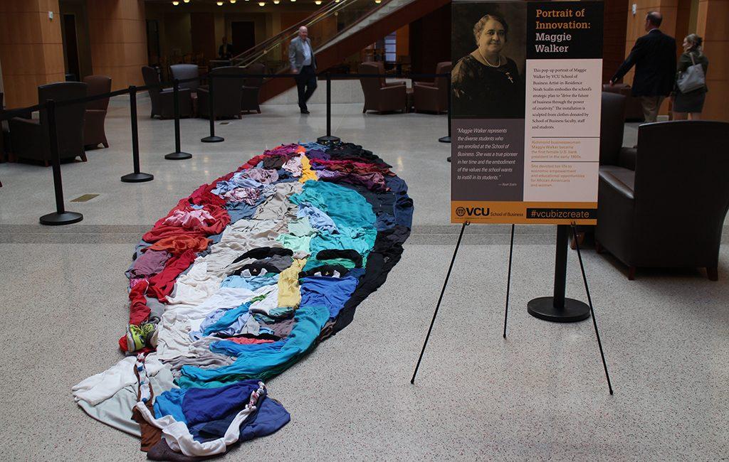 Local artist Noah Scalin's first art installation for the school is a portrait of Maggie Walker. (Jonathan Spiers)