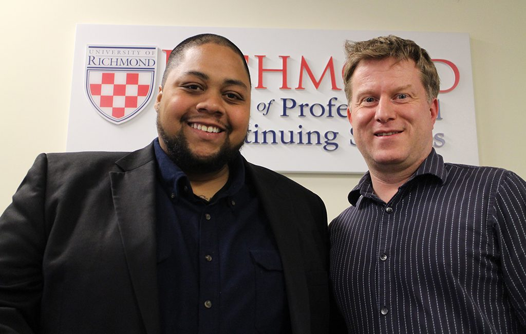 Bobby Faithful, assistant manager of The Answer Brewery (left) and Tom Parfitt with the University of Richmond, help create the school's Beer Brewer Professional Certificate. (J. Elias O'Neal)