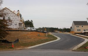 Construction is underway in the Meadowville Landing Villages section. (Jonathan Spiers)