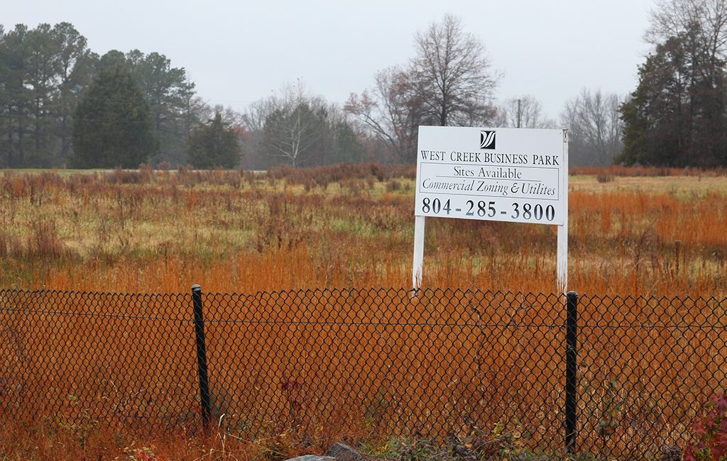 The site of the former Oak Hill Golf Course, where a barn and two silos were razed to make way for a planned retail component for West Creek Business Park. (Jonathan Spiers)