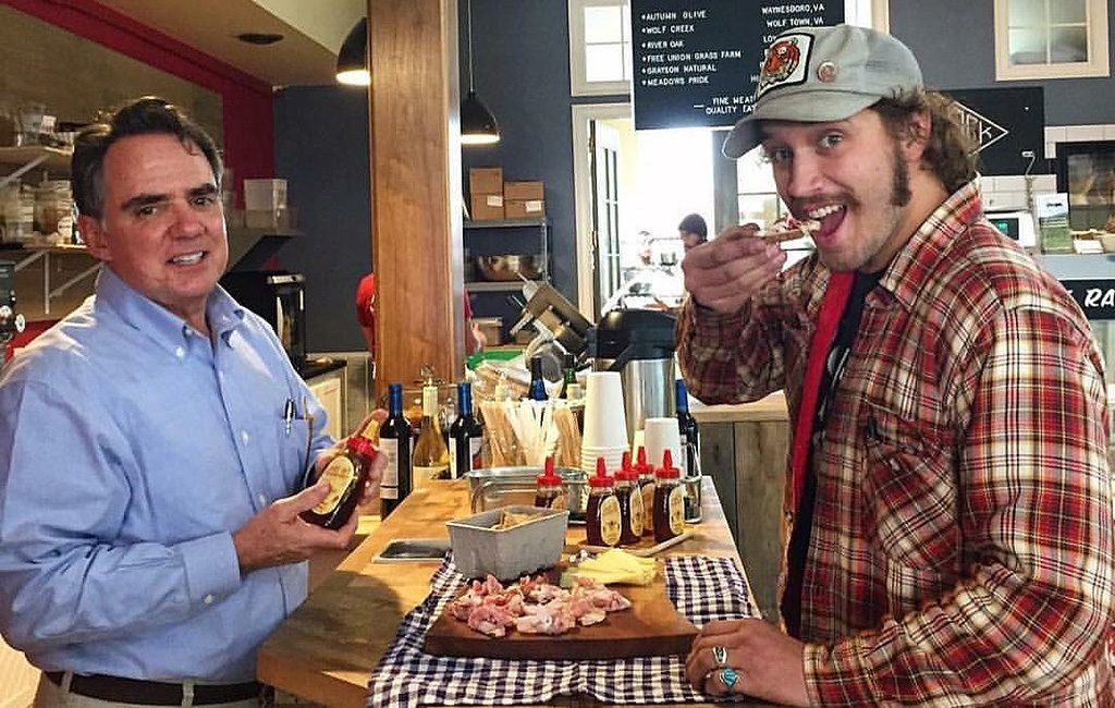 Founder Ames Russell (left) and Tyler Trainum of Autumn Olive Farms. (Courtesy Ames' Hot Southern Honey)