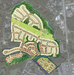 The Kotarides site (blue outline) juts out of the 250-acre River Mill project. (Site plan courtesy HHHunt)