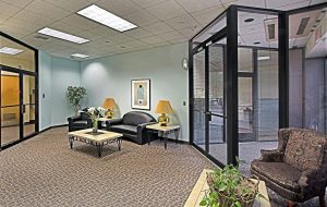 New owners are planning improvements to signage and lighting at the office complex. (Courtesy CBRE)