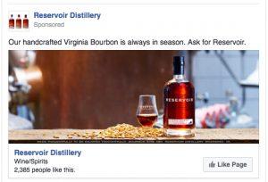 Part of Barber Martin Agency's Facebook campaign for Reservoir Distillery.