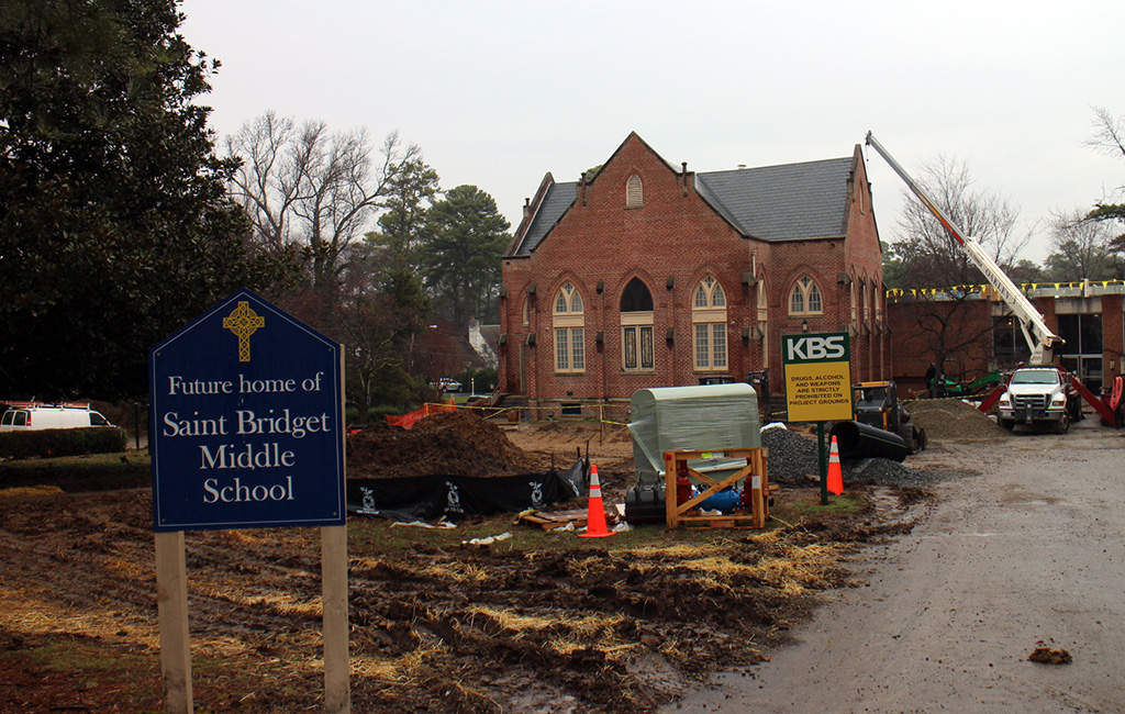Saint Bridget is converting the former Westhampton Baptist Church at 6112 Three Chopt Road into a new middle school. (Mike Platania)