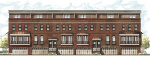 The townhomes would be built in groups of six and include garages underneath.