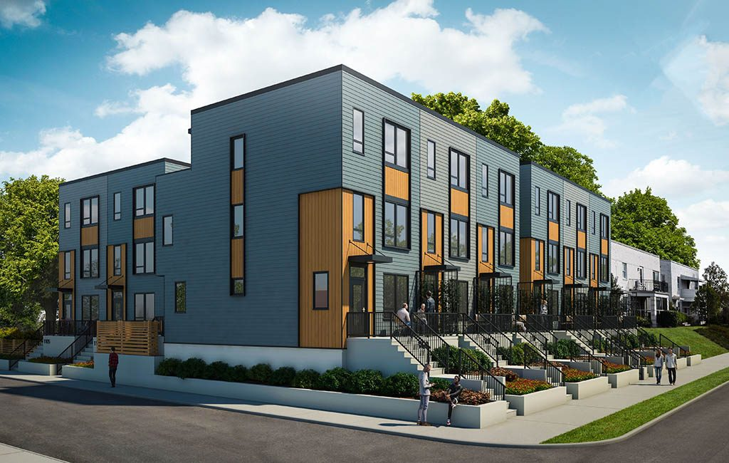 Construction on The Meridian, an eight-unit development at North Thompson Street and Cutshaw Avenue, is set to begin in March. (Rendering courtesy RenderSphere)
