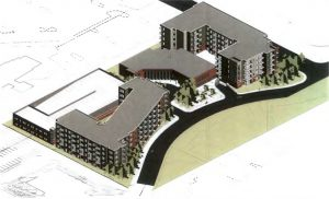 A rendering shows how the two apartment buildings and parking deck would be built around the existing building.