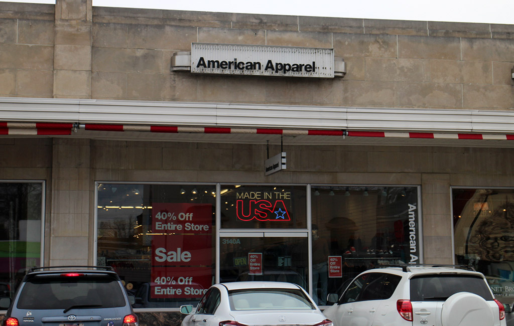 American Apparel's store at 3140 W. Cary St. in the Cary Court Shopping Center will close in April. (Mike Platania)