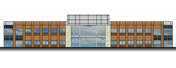 An elevation plan for the the two-story, 49,200-square-foot medical office building.
