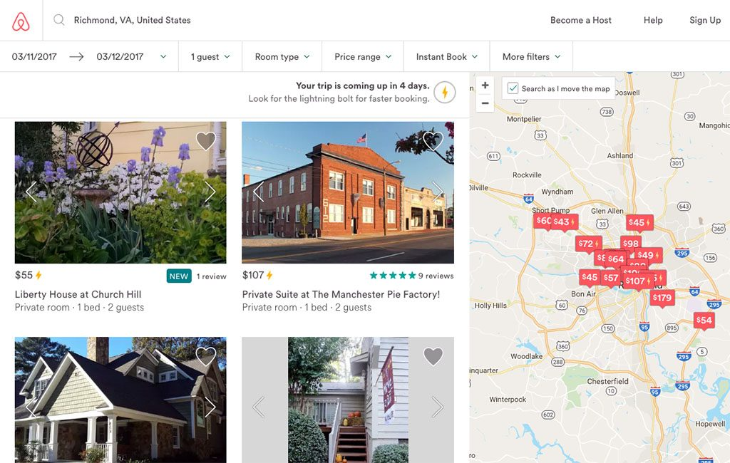 Airbnb had just over 130 rentals available in the first week of March.