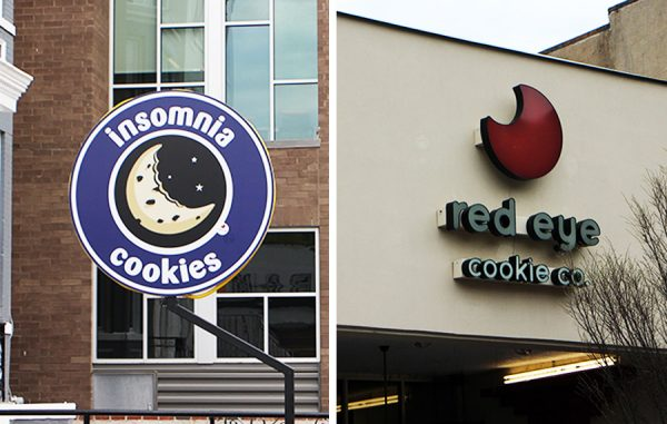 Insomnia Cookies and Red Eye Cookie Co. have stores on opposite sides of West Grace Street.