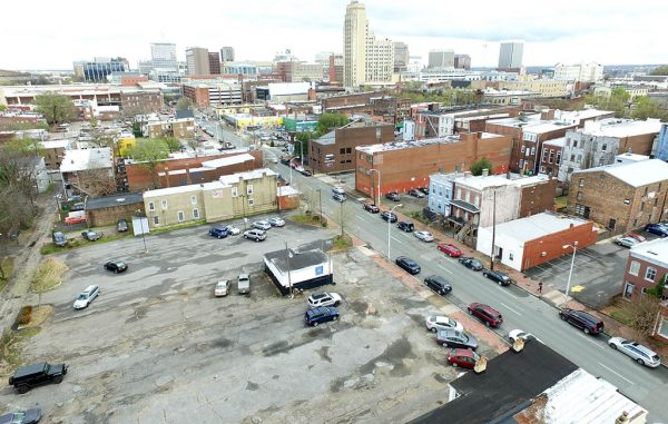 The Marshall Lofts are planned to rise in a parking lot at 2 W. Marshall St. (Kieran McQuilkin)
