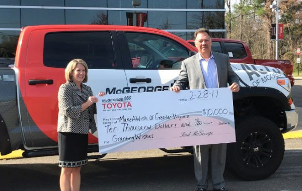 Make-A-Wish of Greater Virginia received a $10,000 donation from McGeorge Toyota. (Courtesy McGeorge Toyota)