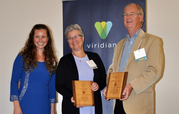 Viridiant Executive Director KC Bleile with Honor's Corner homeowner M.A. Powers and developer Richard Cross, from left. (Viridiant)