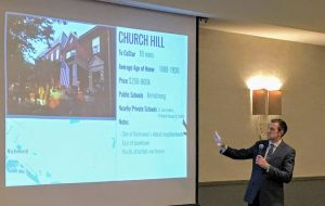 One South Realty's Patrick Sullivan gives a presentation of Richmond neighborhoods to CoStar employees. (Courtesy Patrick Sullivan)
