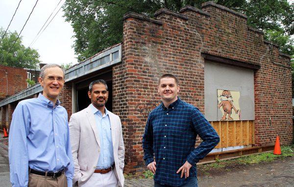 From left: Bill Greenleaf of Virginia Community Capital, developer Jay Som and Matt Sevinsky of Sky Commercial Interiors. (Jonathan Spiers)