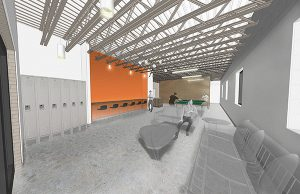 Progress rendering of the Marshall Street building's interior. Courtesy of Fultz & Singh.