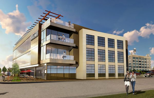 Rendering of the proposed 63,800-square-foot, three-story office building. (Cushman & Wakefield | Thalhimer)