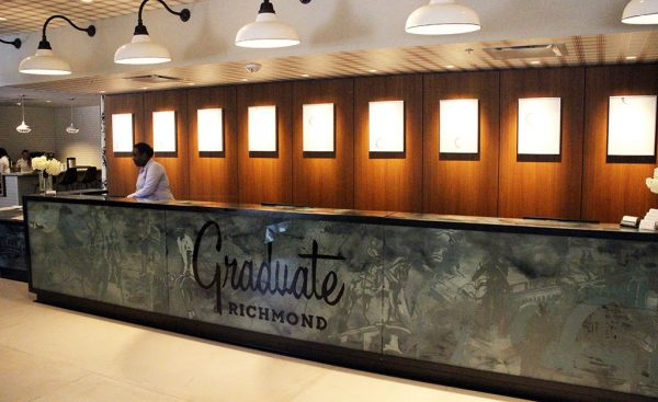 The front desk at the Graduate Richmond.