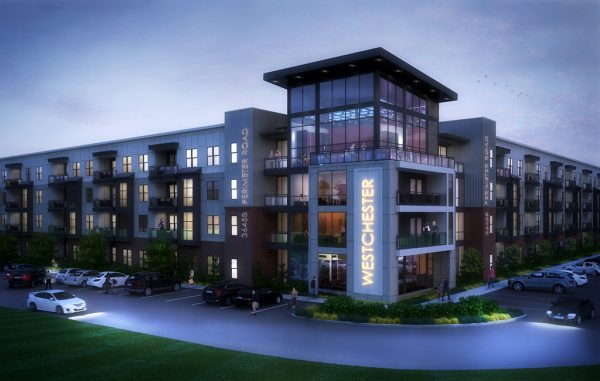 Rendering of the proposed two buildings, totaling 236 apartments on a 5-acre parcel. (Courtesy Casey Sowers)