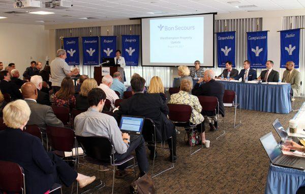 A public Q&A session followed Bon Secours' announcement Thursday. (Mike Platania)