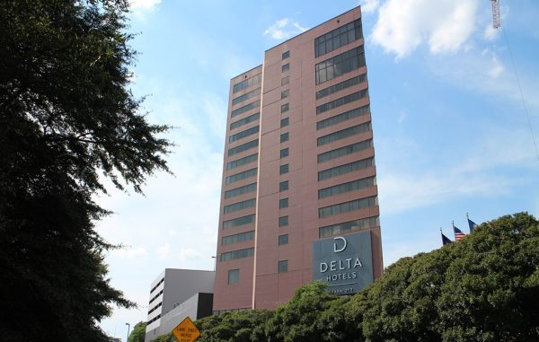 The former Crowne Plaza Richmond at 555 E. Canal St. was rebranded to Delta Hotels by Marriott. (Jonathan Spiers)