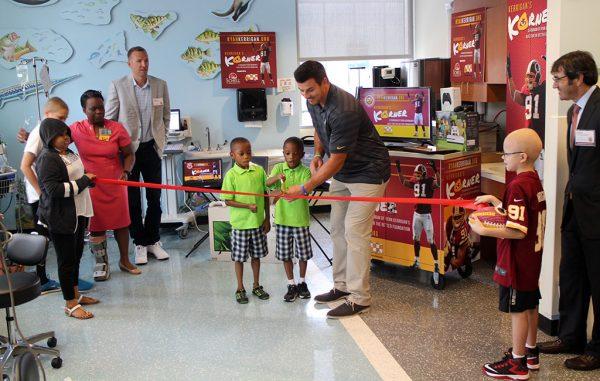 Ryan Kerrigan opening Kerrigan's Korner at the Children's Hospital of Richmond at VCU. (Mike Platania)
