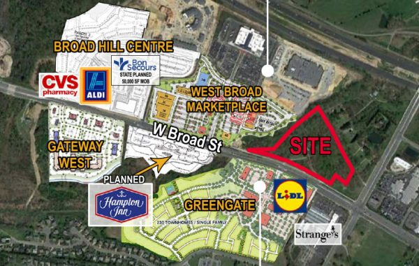 The 12-acre property at 12120 W. Broad St., in red, and 23 acres at 12401 W. Broad St.