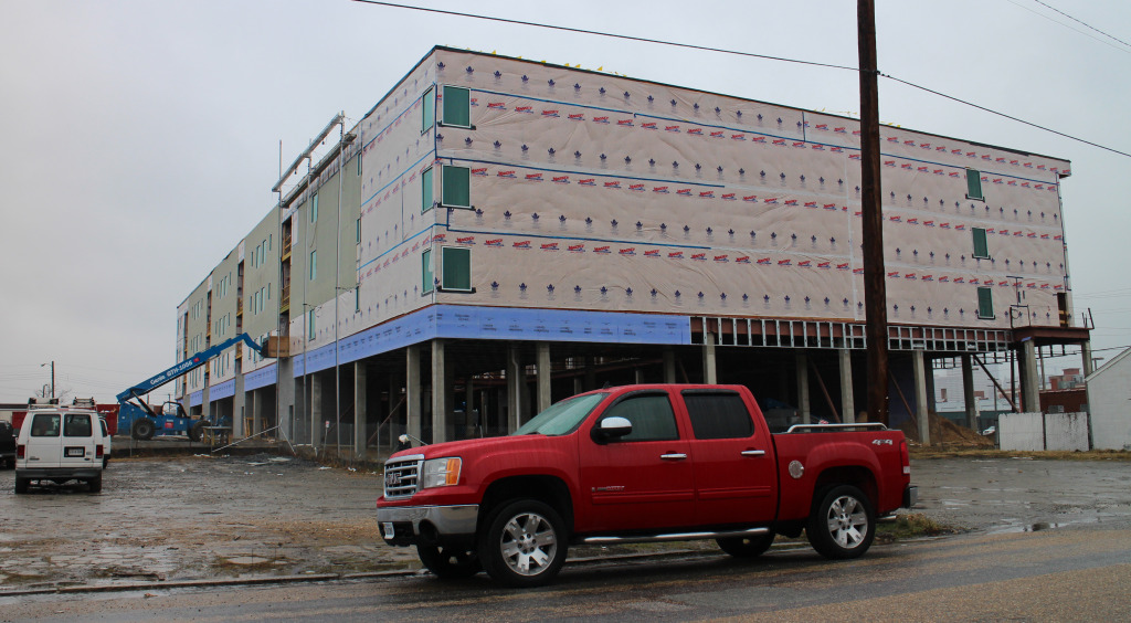 Construction is underway at the Port RVA apartments at 5th and Hull streets.