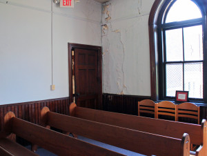 The chapel walls in St. Andrew's have been damaged by water.