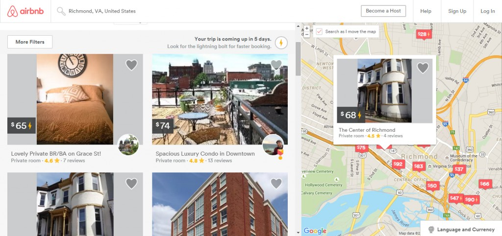 Airbnb offers hundreds of short-term rentals in homes around the Richmond area.