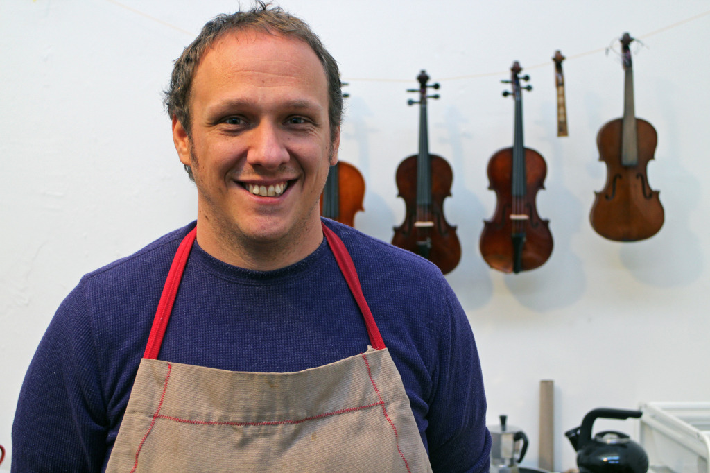 Adam Birce opened a violin repair shop in Manchester. Photos by Michael Thompson.