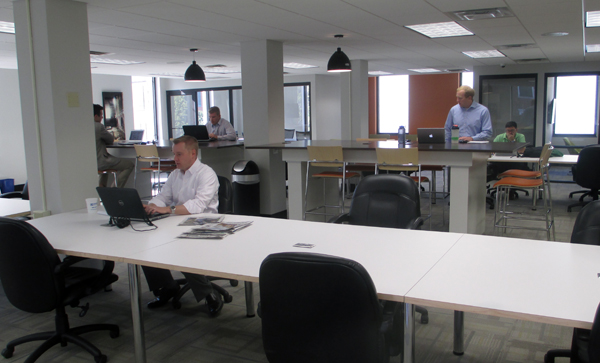 Gather, a co-working space at 409 E. Main St.  features 10,000 square feet. (Photo by Burl Rolett)