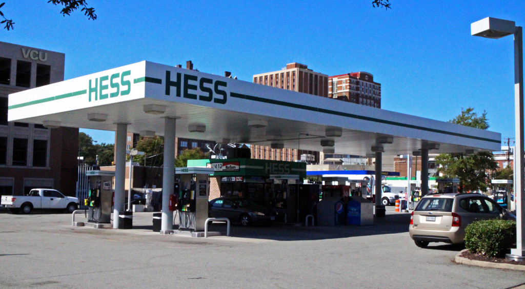 The Hess gas station at Belvidere and Broad streets will be converted into a Walgreens. Photo by Burl Rolett.