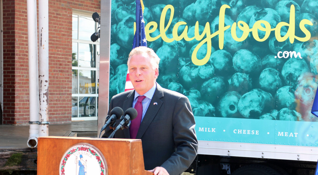 Gov. Terry McAuliffe speaks at the Relay Foods announcement event in September.