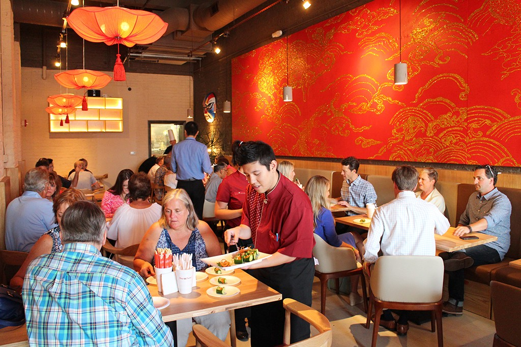 Crowds at Chang's soft opening in Scott's Addition last week.