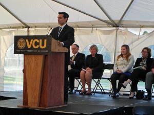 VCU President Michael Rao speaks at Thursday's event.